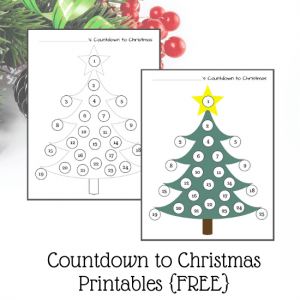 free Christmas countdown worksheet for preschool and toddlers